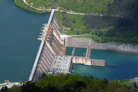 serbia: Water barrier dam, Perucac, river Drina, Serbia Stock Photo