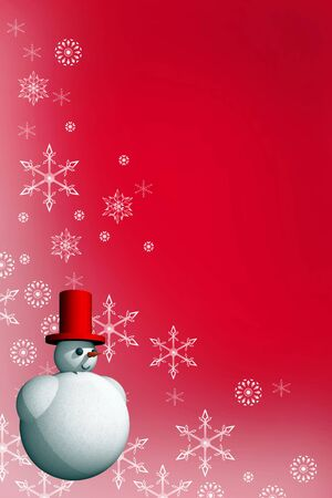 Abstract seasonal and holiday background with snowman photo