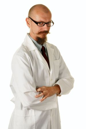 Portrait of an experienced male doctor, studio shot, isolated over white photo