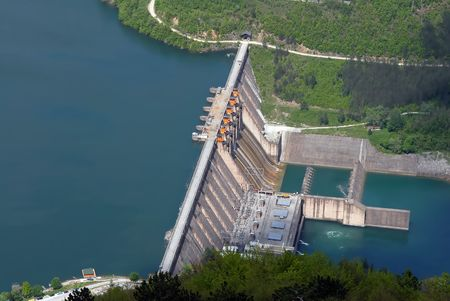 Water barrier dam, Perucac, river Drina, Serbia Stock Photo - 3825764