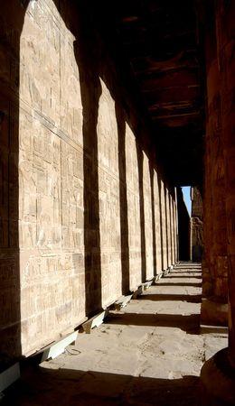 colonade: Ancient temple Edfu in Egypt, colonade detail