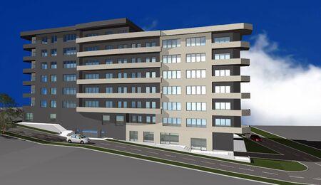 diminishing point: 3D render of modern residential building against blue sky