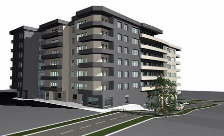 3D render of modern residential building against white background Stock Photo