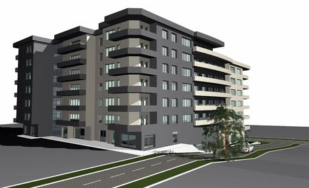 3D render of modern residential building against white background Stock Photo