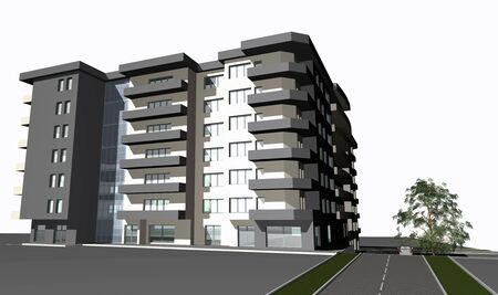 3 point perspective: 3D render of modern residential building against white  Stock Photo