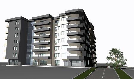 diminishing perspective: 3D render of modern residential building against white  Stock Photo