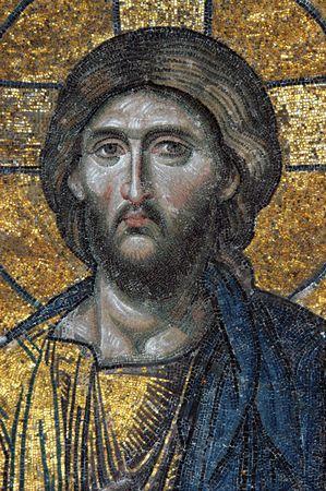 Mosaic of Jesus Christ in church of Hagia Sofia, Istanbul, Turkey