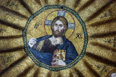chora: Mosaic of Jesus Christ in Hora church, Istanbul, Turkey                                 Editorial