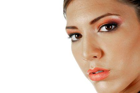 female face closeup: Young attractive female, face closeup, makeup concept