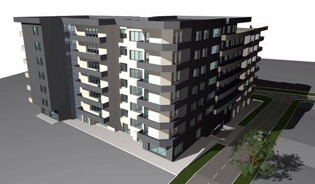diminishing point: 3D render of modern residential building against white sky Stock Photo