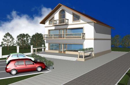 diminishing perspective: 3D render of modern house with parking space in front