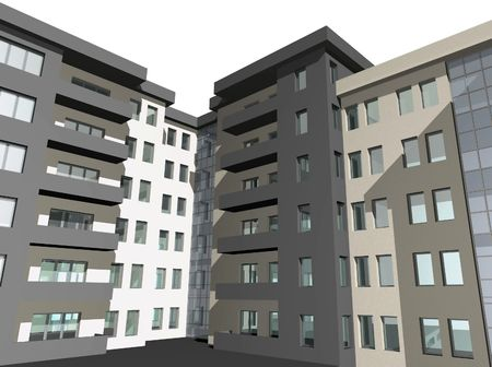 diminishing point: 3D digital render of modern residential building
