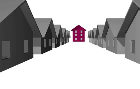 diminishing perspective: 3D render of modern residential houses isolated over white