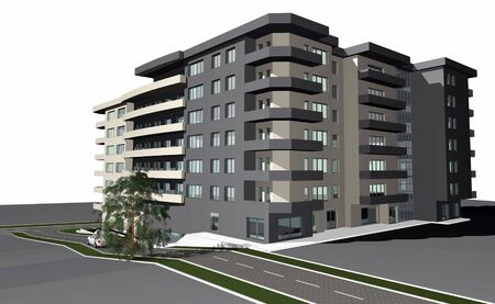 diminishing point: 3D render of modern residential building against white  Stock Photo