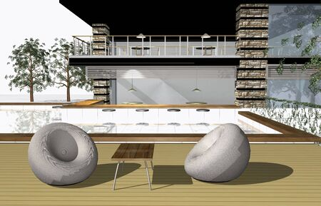 diminishing point: 3D render of modern house exterior with bar and swimming pool Stock Photo