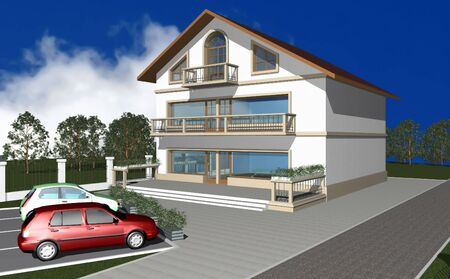3D render of modern residential house, cars at parking space in front Stock Photo - 4234810