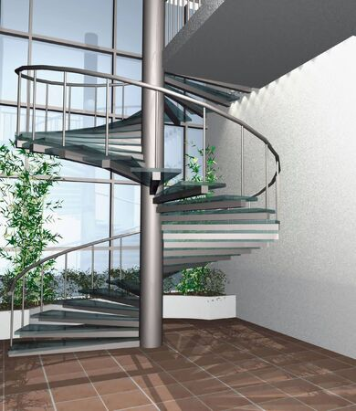 3 point perspective: 3d digital render of modern building interior whit circle stairs