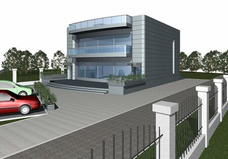diminishing perspective: 3d render of modern house with parking space and car in front of building Stock Photo