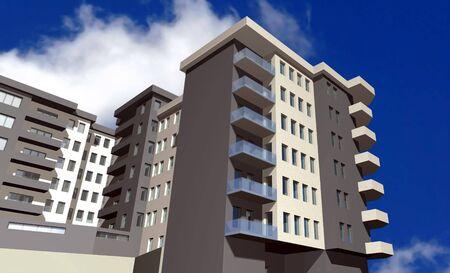 3 point perspective: 3D render of modern residential building against blue sky  Stock Photo