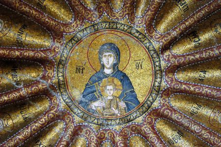 Mosaic of Virgin Mary in Hora church, Istanbul, Turkey