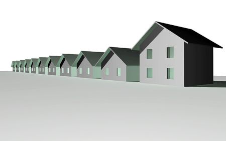 3 point perspective: 3D render of modern houses isolated over white