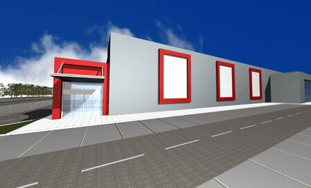 diminishing perspective: 3D render of modern business center isolated over blue sky