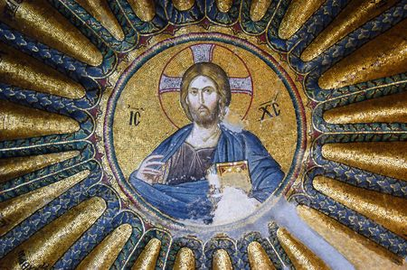 Mosaic of Jesus Christ in the Hora church, Istanbul, Turkey Editorial