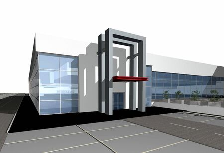 3 point perspective: 3D render of a modern business center against white