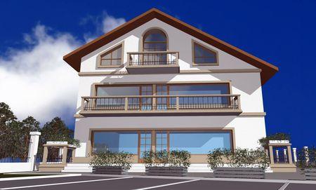 digitally generated: 3D render of modern house against blue sky