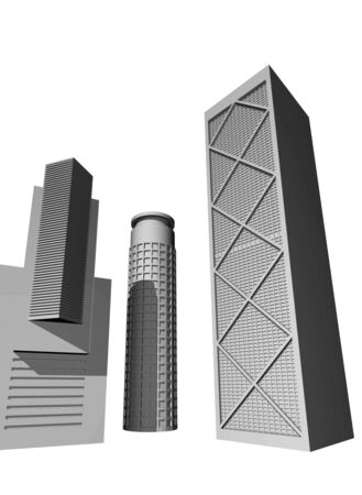 3 point perspective: 3D render of modern skyscrapers against white