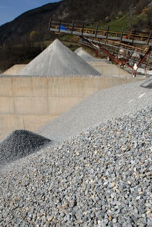 filthy: Close up image of modern quarry, rock separators visible
