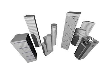 3 point perspective: Abstract 3D render of modern skyscrapers against white background