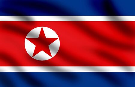 pyongyang: Waving flag of North Korea, closeup image, full frame Stock Photo