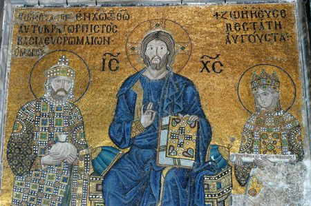 iconography: Jesus Christ is sitting on a throne decorated with jewels witn Empress Zoe and Emperor Constantine IX Monomachus, Hagia Sofia in Istanbul, Turkey                              Editorial