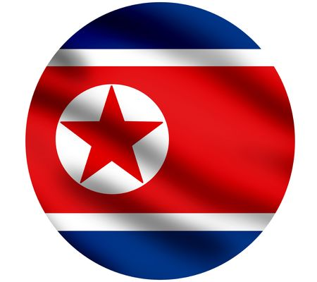 pyongyang: Waving flag of North Korea, closeup image, against white