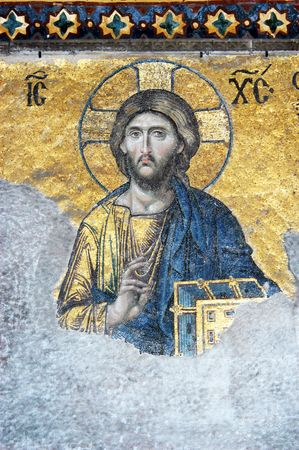 iconography: Mosaic of Jesus Christ, Hagia Sofia in Istanbul, Constantinople, Turkey             Editorial