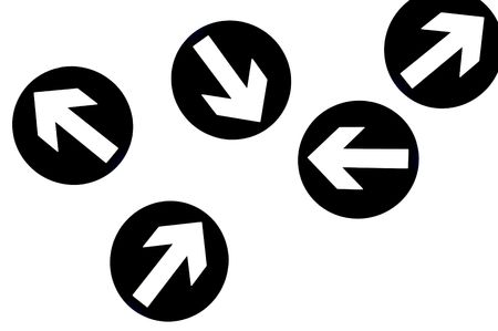 different ways: Abstract direction signs showing different ways, over white