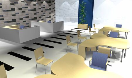 3 point perspective: Abstract 3D office rendering, modern interior, illustration Stock Photo