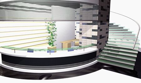 vanish: 3D rendering of modern office interior  Stock Photo