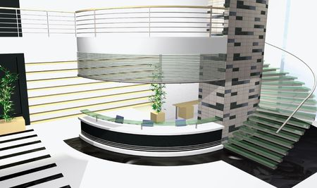 3 point perspective: Abstract 3D render of modern office interior