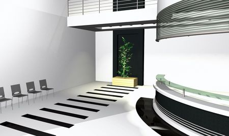 diminishing point: Abstract 3D office rendering, modern interior illustration