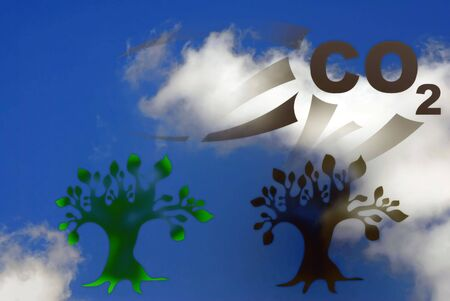 co2: Abstract 3d pollution illustration against blue sky with white clouds