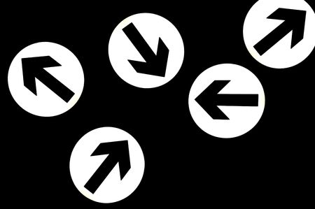 different ways: Abstract direction signs showing different ways, over black