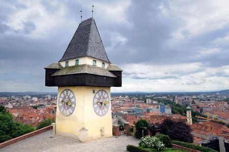 Old clock tower in Graz, Austria, landmark of the city