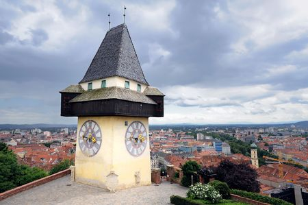 Old clock tower in Graz, Austria, landmark of the city