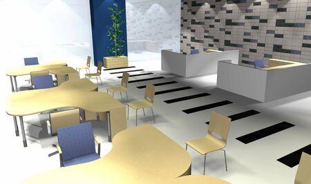 diminishing point: Abstract 3D office rendering, modern interior, illustration Stock Photo