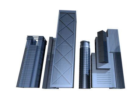 diminishing point: 3D render of modern skyscrapers, future city concept