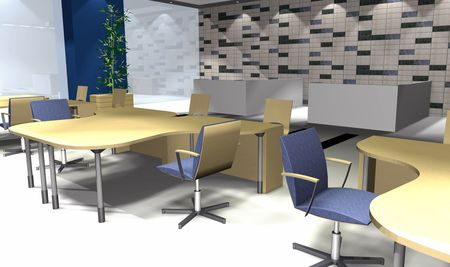 diminishing point: 3D rendering of modern office interior with spot lights