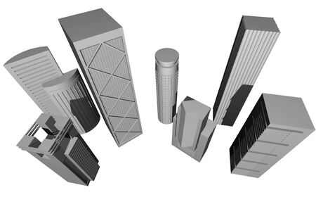3 point perspective: Abstract 3D render of modern skyscrapers against white