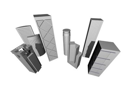 diminishing point: Abstract 3D render of modern skyscrapers against white background